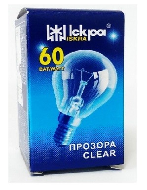 Elektros lemputė 230V 60W E14 Iskra (burbulas skaidrus)
