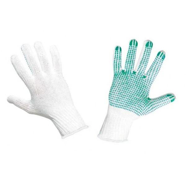 Pirštinės megztos su PVC žaliais taškeliais vienpusiai M2 (10 dydis)