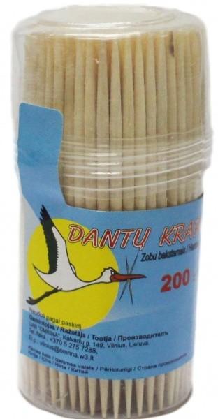 Dantų krapštukai mediniai 200vnt (minkštoje dėžutėje)