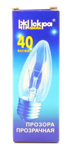 Elektros lemputė 230V 40W E27  Iskra (žvakutė skaidri)