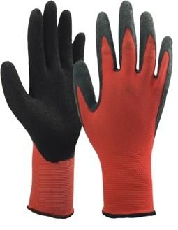 Pirštinės trikotažinės raudonos aplietos juodai (11 dydis)