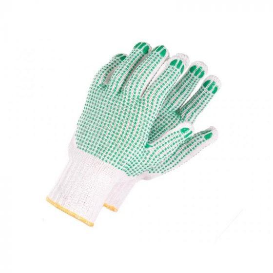 Pirštinės megztos su PVC žaliais taškeliais dvipusiai 7003B M2-1 (10 dydis)