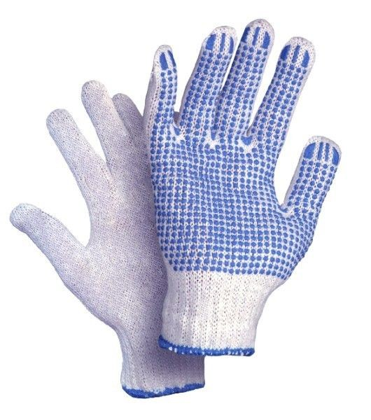 Pirštinės megztos su PVC mėlynais taškeliais vienpusiai M2 (11 dydis)